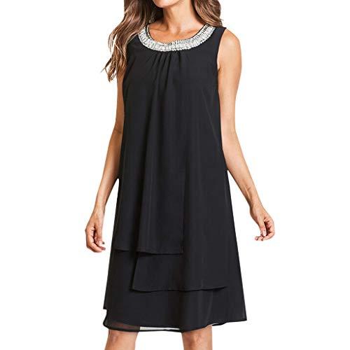 iCerber Boutique Damen Kleider Frauen Chiffon Sommer Langes Shirt Große Größen Tüll Pailletten O-Neck T-Shirt Kleid Sleeveless/ 3/4 Hülsen beiläufiges Schaukel-Partykleid S-XXXXXL
