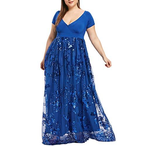 iYmitz Damen Übergröße Maxikleid Elegant V-Ausschnitt Kurzarm Kleider mit Blumen Pailletten Abend Party Netzkleid