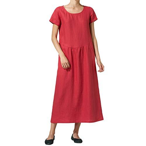 iYmitz O-Neck Kleider Damen Freizeit Strandkleider Lose Sommerkleider Einfarbig Tunika Leinen Shirtkleid Midikleider