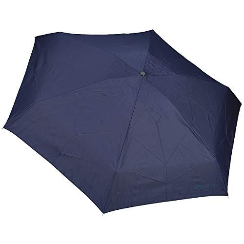 ESPRIT Regenschirme Easymatic 4-Section Regenschirm, Blau, Länge ca. 22 cm, Durchmesser ca. 5 cm