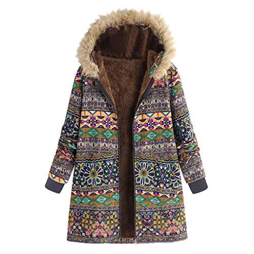Longzjhd Damen Wintermantel Warm Winterparkas mit Blumendruck Kapuze Taschen Mantel Vintage Coat mit Fleece-Futter Winterjacke Fleecejacke Outwear Reißverschluss Overcoat
