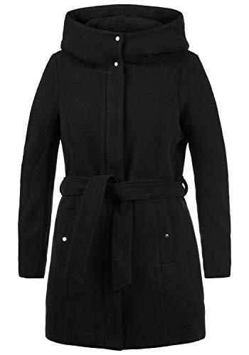 VERO MODA Wollni Damen Winter Jacke Wollmantel Winterjacke Mantel mit Kapuze und Gürtel
