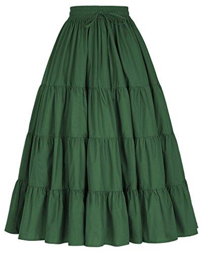 Belle Poque Damen Einfarbig Baumwolle Boho Gypsy Maxi Lang Rock BP207