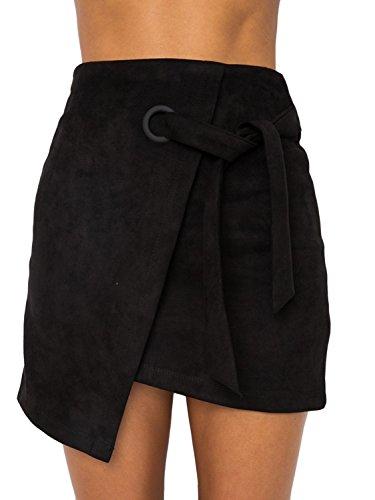 Melegant Damen Herbst Asymmetrischer Rock Mini Leder High Waist Eng Skrit Mit Schlitz Winter