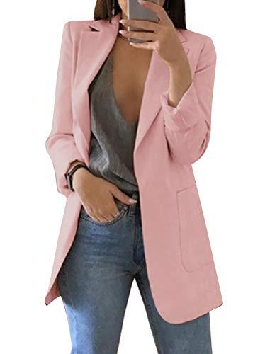 Minetom Damen Elegant Langarm Blazer Sakko Einfarbig Slim Fit Revers Geschäft Büro Jacke Kurz Mantel Anzüge Bolero mit…