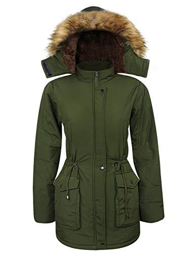iloveSIA® Damen Wintermantel warm leicht und weich Winterjacke flauschig mit Pelzkapuze