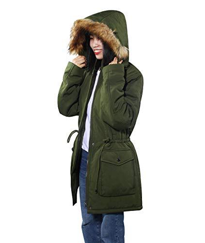 iloveSIA® Damen Wintermantel warm Jacke leicht und weich mit Pelzkapuze Mitte-Lange