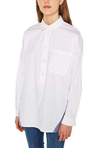 edc by ESPRIT Damen 129CC1F007 Bluse, Weiß (White 100), Medium (Herstellergröße: M)