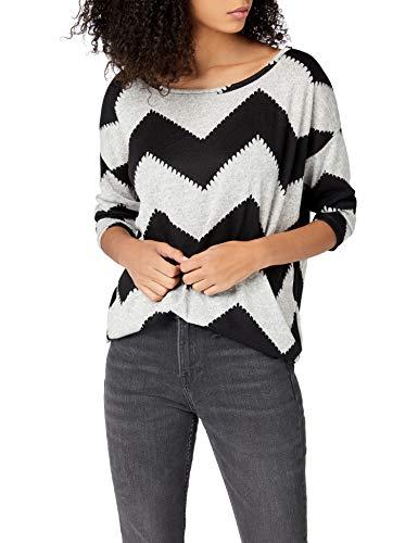 ONLY Damen onlELCOS 4/5 AOP TOP JRS NOOS Langarmshirt, Mehrfarbig (Light Grey Melange AOP:W. Black Zigzag), 34 (Herstellergröße: XS)